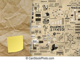 zaciągnąć, pojęcie, handlowy, koperta, zmięty, klejowata nuta, papier, tło, czysty, ręka, strategia