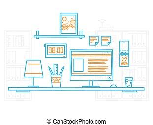 zaciągnąć, projektant, biuro, nowoczesny, ręka, miejsce pracy, minimalistic, wewnętrzny, desktop, style.