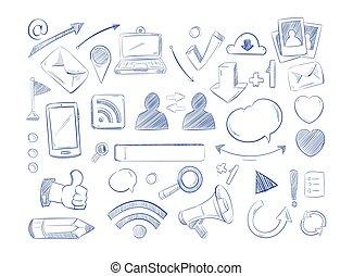 zaciągnąć, wektor, sieć, ikony, media, internet, ręka, komputer, towarzyski, doodles