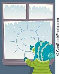 zaciągnąć, zima słońce, ilustracja, okno, koźlę