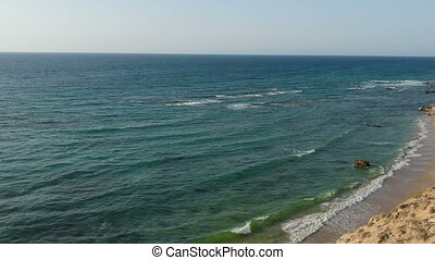 zackig, felsformation, und, seawater
