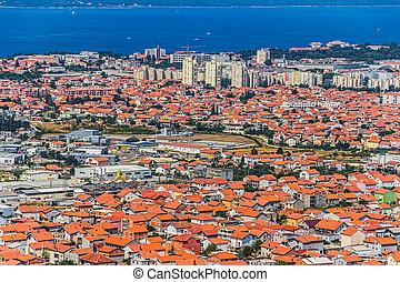 Zadar aerial - Aerial shot of Zadar new part, residential...