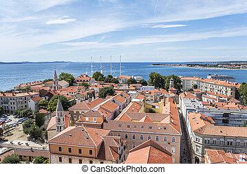 Zadar city from tower. Dalmatia. Croatia. - Zadar city from...