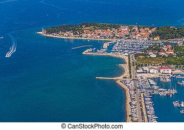 Zadar - ZADAR, CROATIA - JUL 7: Aerial view of city with...