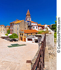 Zadar Five wells square and historic architecture panoramic view