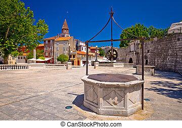 Zadar Five wells square and historic architecture view