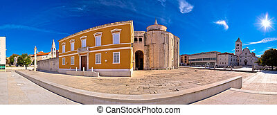 Zadar historic square panoramic view