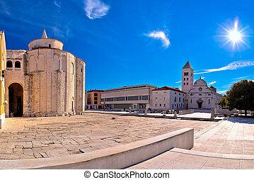 Zadar historic square panoramic view