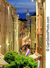 zadar, historique, rue, coloré