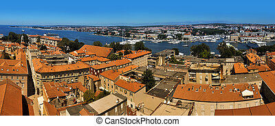 Zadar panorama - panorama photo of old town of Zadar,...