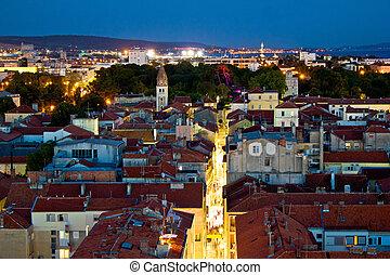 Zadar peninsula calle larga panorama in evening, Dalmatia, Croatia