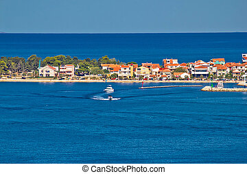 Zadar peninsula tourist destination and blue sea, Dalmatia,...