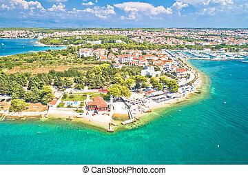 Zadar. Puntamika beach in Zadar aerial panoramic view
