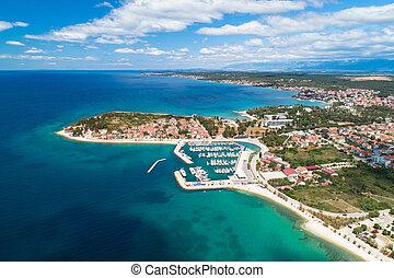 Zadar. Puntamika peninsula of Zadar aerial panoramic view