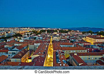 Zadar rooftops night aerial view, Dalmatia, Croatia