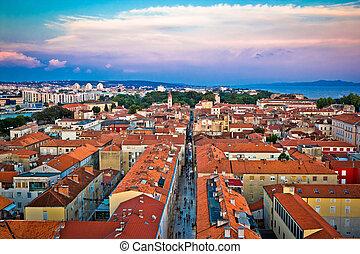 zadar, telhados, em, cidade velha, aéreo