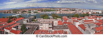 Zadar Town Panorama - Old Croatian Town Zadar Harbor...