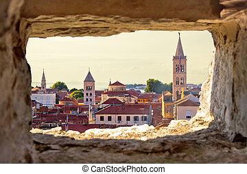 zadar, vue aérienne, par, pierre, fenêtre