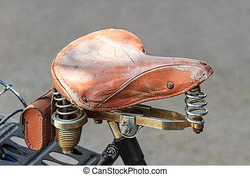 zadel, leder, ouderwetse , metaal, fiets, vering