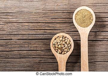 zaden, cannabis, lepels, board., houten, oud, copy-space., meel, twee