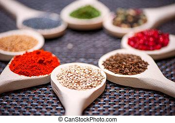 zaden, -, kruiden, detail, houten, lief, gevarieerd, lepel, sesam