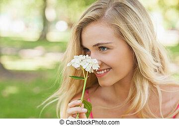 zadowolenie, pachnący, biały, kobieta, kwiat, młody