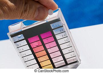 zadowolenie, probierczy, woda, chlor, ph, kałuża