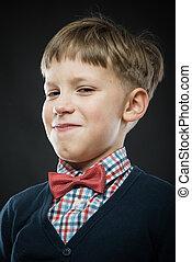 zadowolony z siebie, chłopiec, do góry szczelnie, portret
