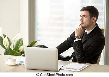 zadumany, biuro, posiedzenie, handlowy, biurko, lider