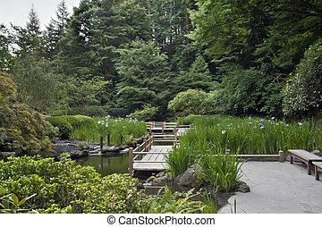 zag de zig, puente, en, jardín japonés