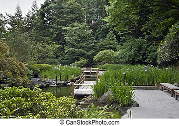 zag zig, ponte, em, jardim japonês