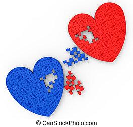 zagadka, obietnica, dwa, ślub, serca, widać