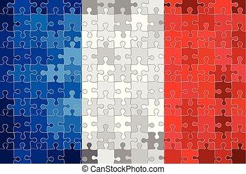 zagadka, robiony, bandera, tło, francja