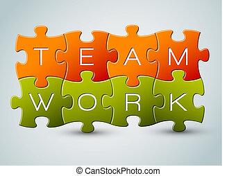 zagadka, wektor, teamwork, ilustracja