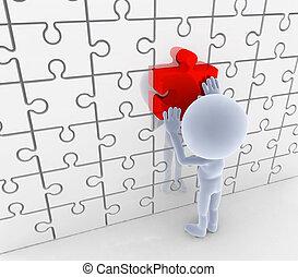 zagadka, wyrzynarka, matching., rozłączenie, idea, concepts.