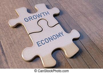 zagadka, wzrost, handlowy, ekonomia