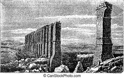 Carthage roman aqueduct ruins old engraving.