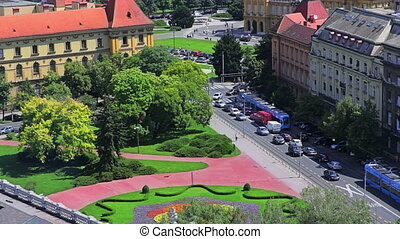 Zagreb, aerial view to the intersec - Panorama of the...