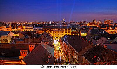 Zagreb at night Panoramic view of  city