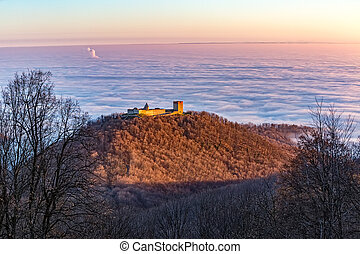 Zagreb beneath the clouds and Medvedgrad - Aerial view of...