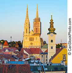 Zagreb Cathedral at sunset. Croatia
