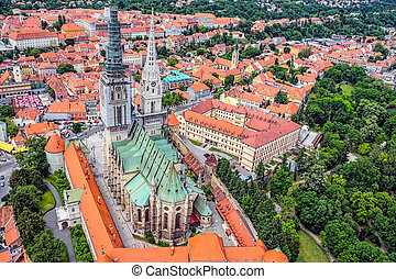 Zagreb Cathedral with Archbishop's Palace, Croatia....
