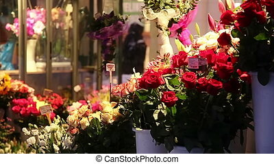 Zagreb city center with stand flowers for sale on Flowers...