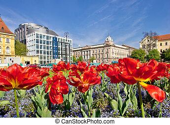 Zagreb colorful flora and architecture, Marshal Tito square