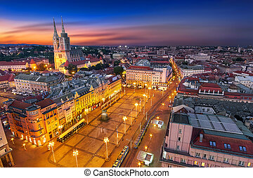 Zagreb Croatia at Night. View from above of Ban Jelacic...