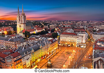 Zagreb Croatia at Sunset. View from above of Ban Jelacic...