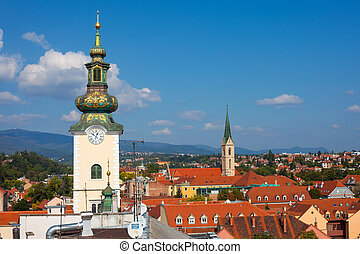 ZAGREB, CROATIA - OCT 2: Aerial view of Zagreb rooftops including Dolac market and the Church of St. Mary tower on October 2, 2013 in Zagreb, Croatia. Zagreb is a fast- growing top tourist destination