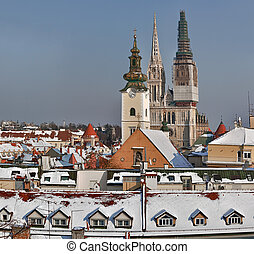 Zagreb - Croatia - Zagreb old town cathedral, capital city...