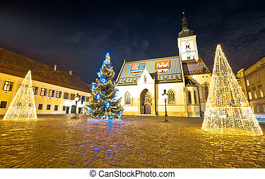 Zagreb government square advent evening view