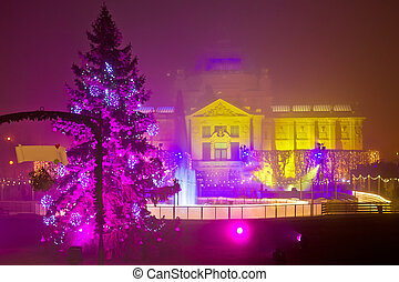 Zagreb in Christmas lights evening view
